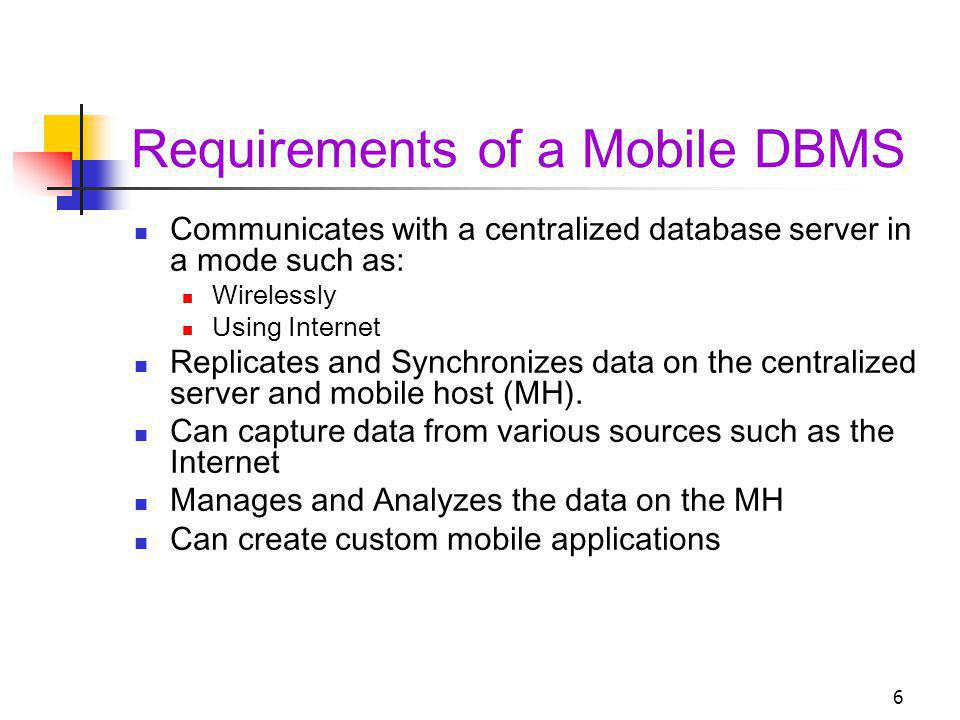 Requirements of a Mobile DBMS
