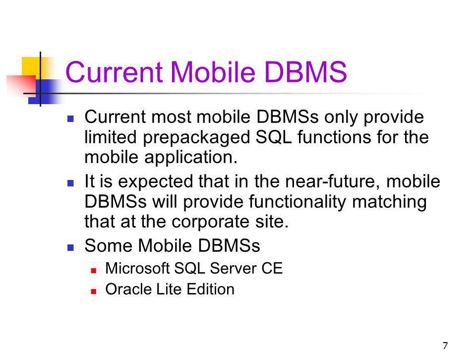 Current Mobile DBMS Current most mobile DBMSs only provide limited prepackaged SQL functions for the mobile application.