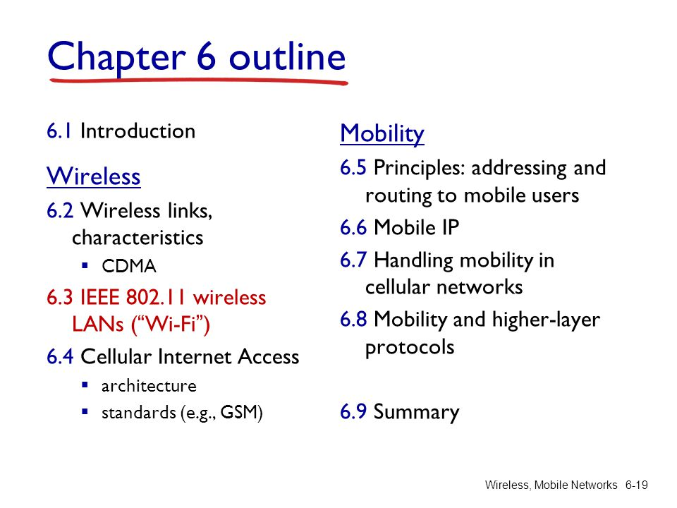 Chapter 6 outline Mobility Wireless 6.1 Introduction