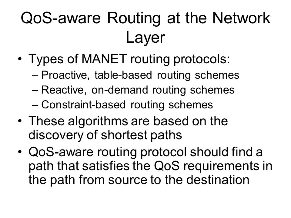 qos in manet In this paper, a performance analysis study for voip over mobile wireless ad hoc networks (manet) is carried out using opnet tool the aodv, dsr, tora, olsr, and grp routing protocols have.
