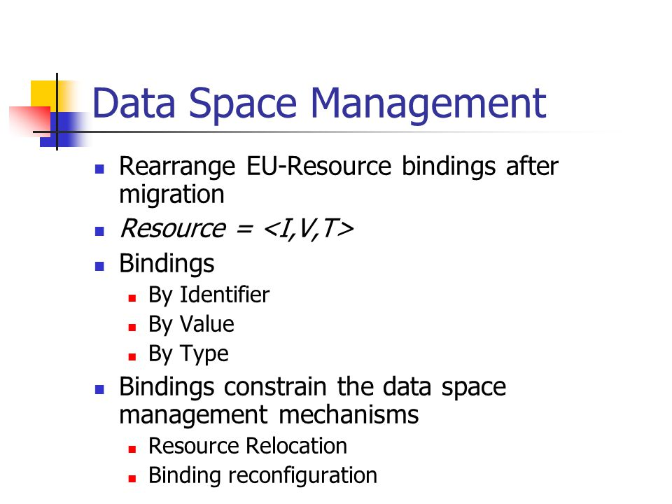 Data Space Management Rearrange EU-Resource bindings after migration