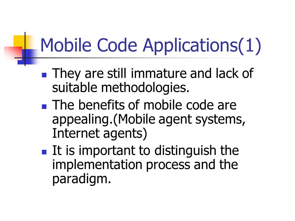 Mobile Code Applications(1)