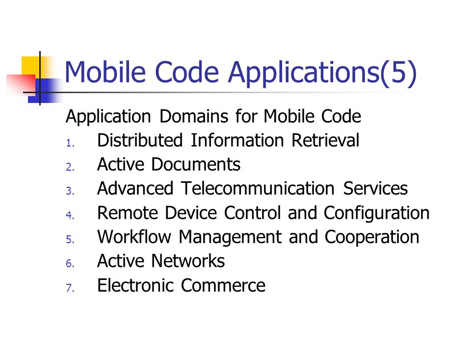 Mobile Code Applications(5)