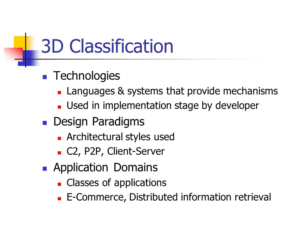3D Classification Technologies Design Paradigms Application Domains