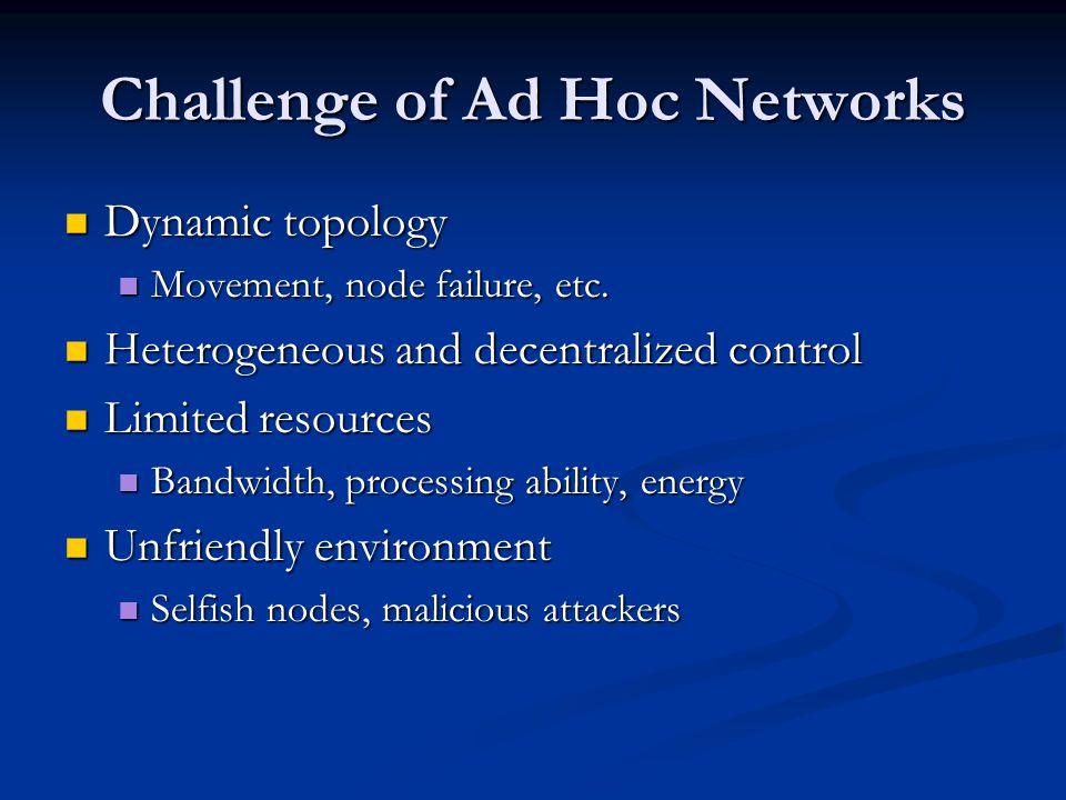 Challenge of Ad Hoc Networks