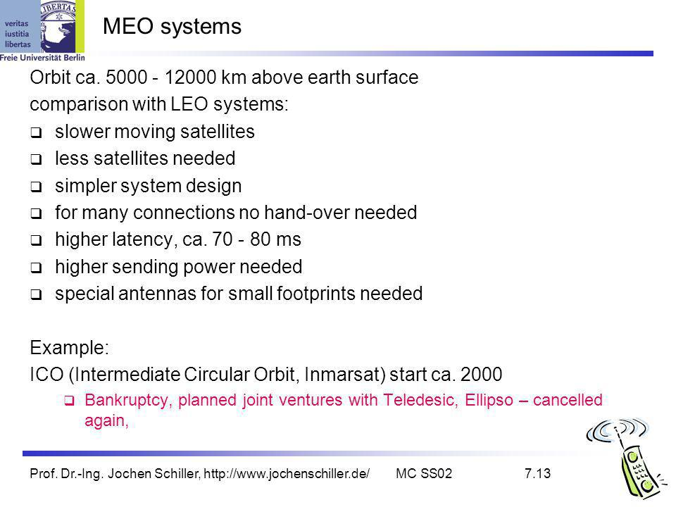 MEO systems Orbit ca. 5000 - 12000 km above earth surface