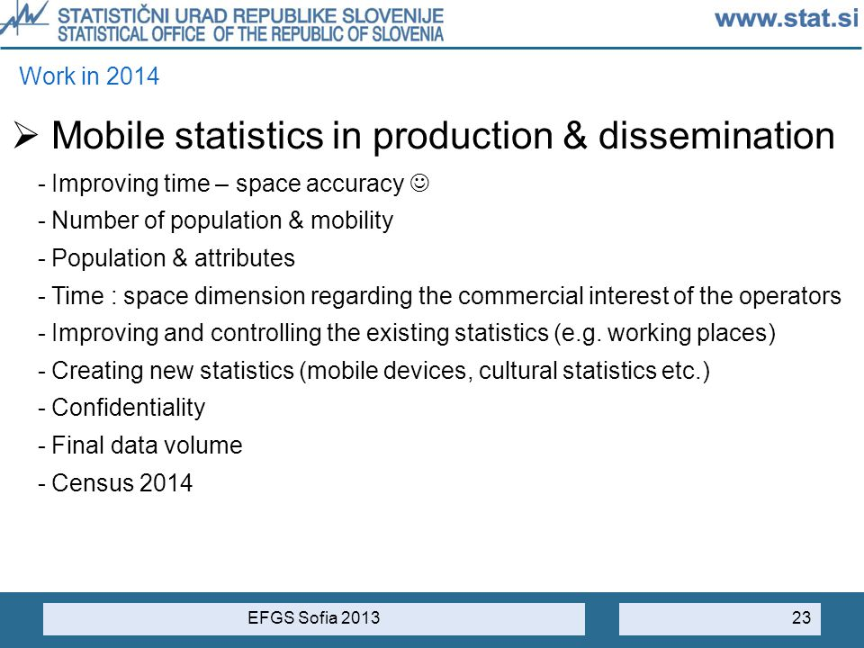 Mobile statistics in production & dissemination