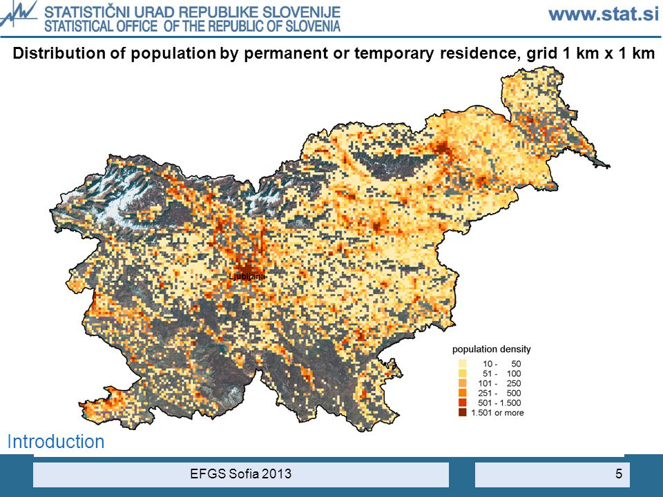 Distribution of population by permanent or temporary residence, grid 1 km x 1 km