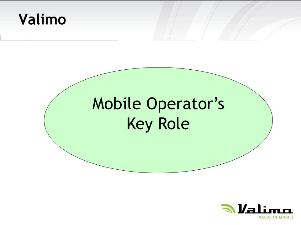 Valimo Mobile Operator's Key Role