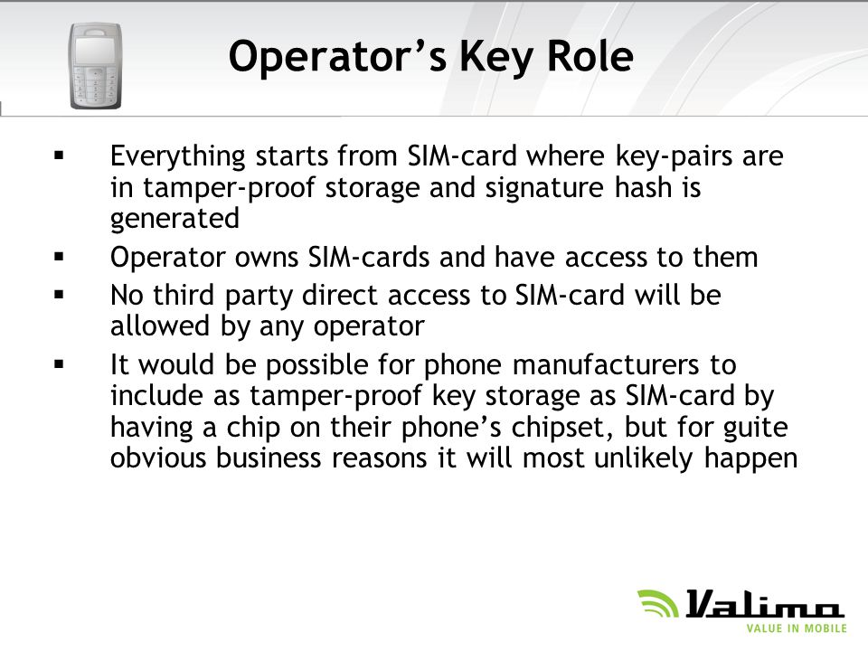 Operator's Key Role Everything starts from SIM-card where key-pairs are in tamper-proof storage and signature hash is generated.