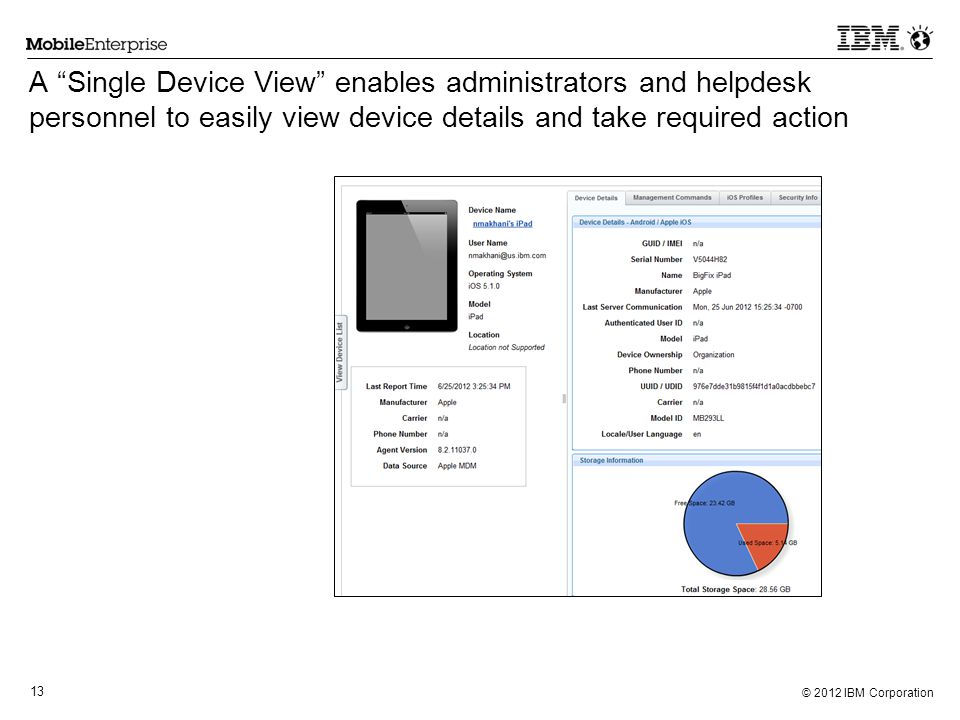 A Single Device View enables administrators and helpdesk personnel to easily view device details and take required action