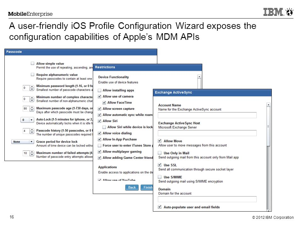 A user-friendly iOS Profile Configuration Wizard exposes the configuration capabilities of Apple's MDM APIs
