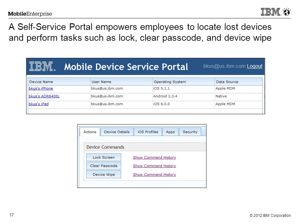 A Self-Service Portal empowers employees to locate lost devices and perform tasks such as lock, clear passcode, and device wipe