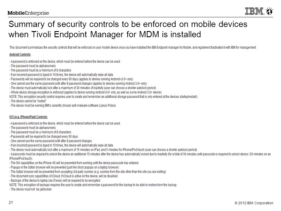 Summary of security controls to be enforced on mobile devices when Tivoli Endpoint Manager for MDM is installed