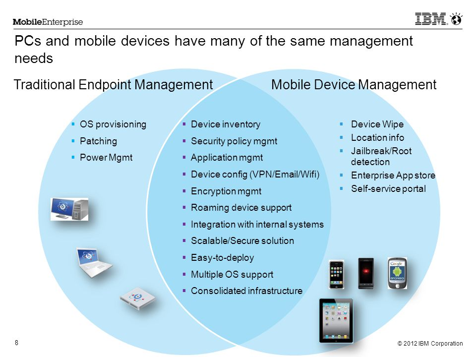 PCs and mobile devices have many of the same management needs