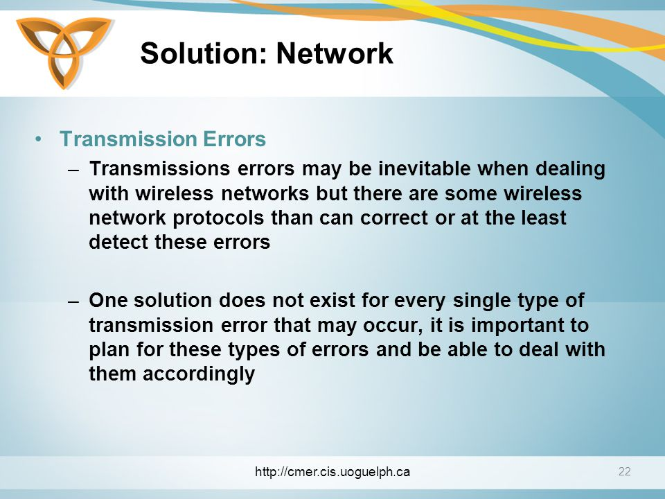Solution: Network Transmission Errors