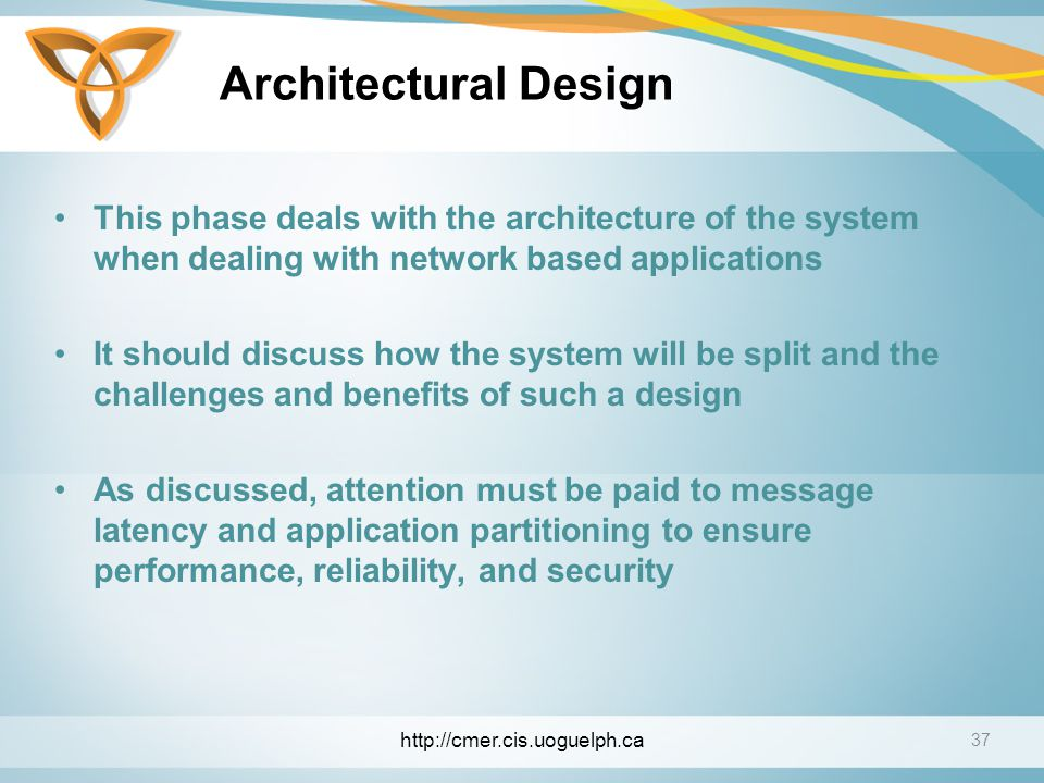 Architectural Design This phase deals with the architecture of the system when dealing with network based applications.
