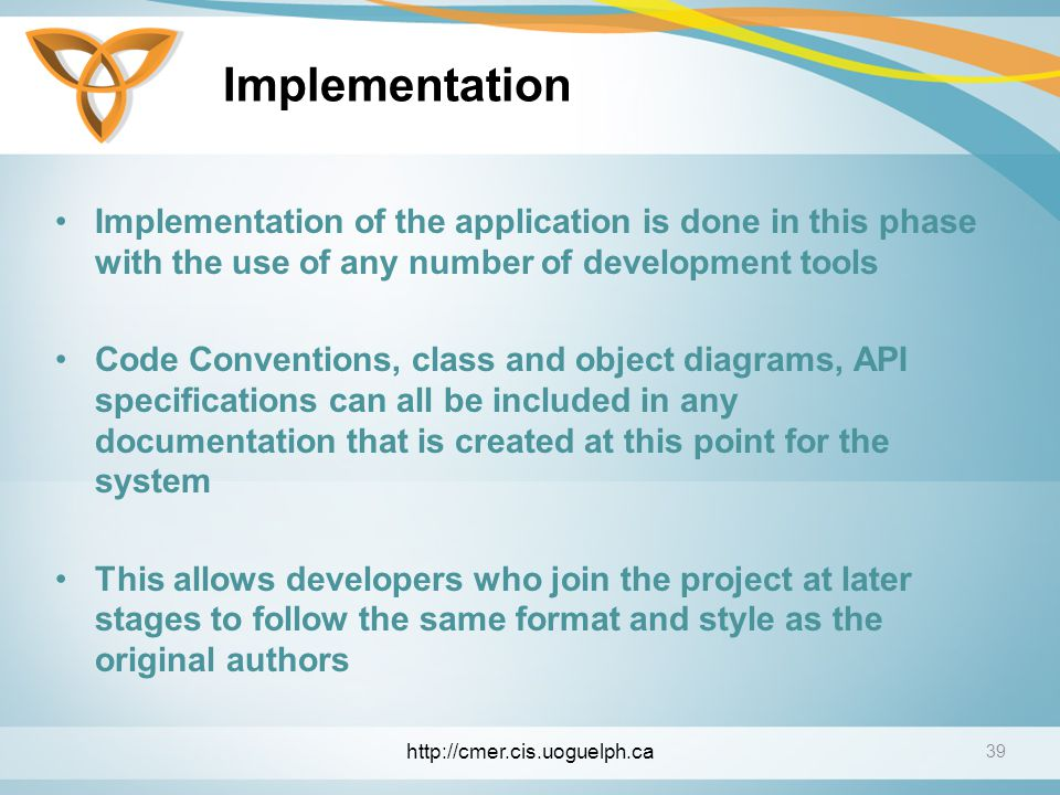 Implementation Implementation of the application is done in this phase with the use of any number of development tools.