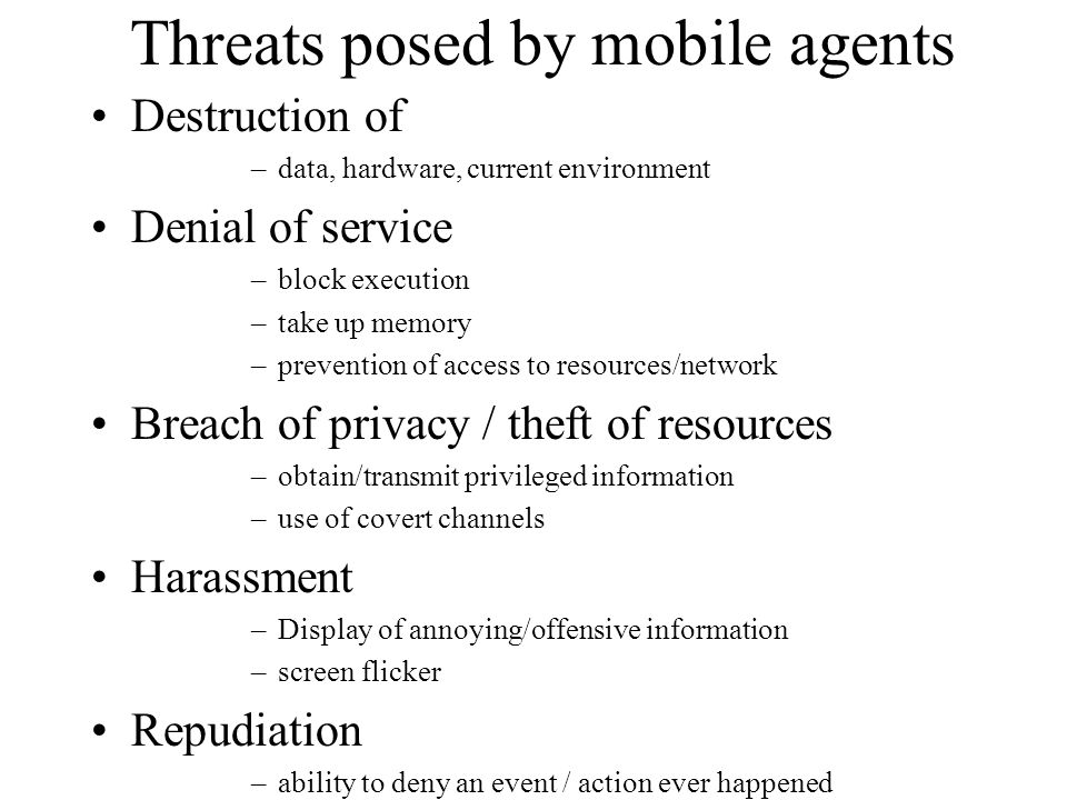 Threats posed by mobile agents