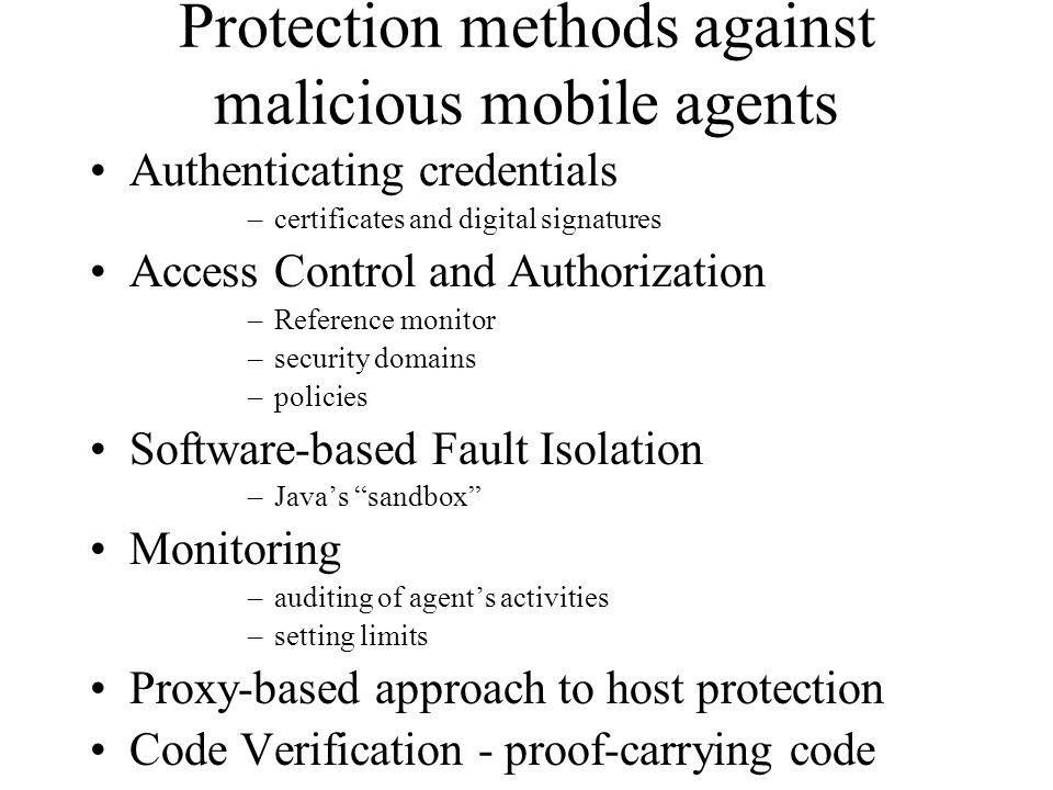 Protection methods against malicious mobile agents