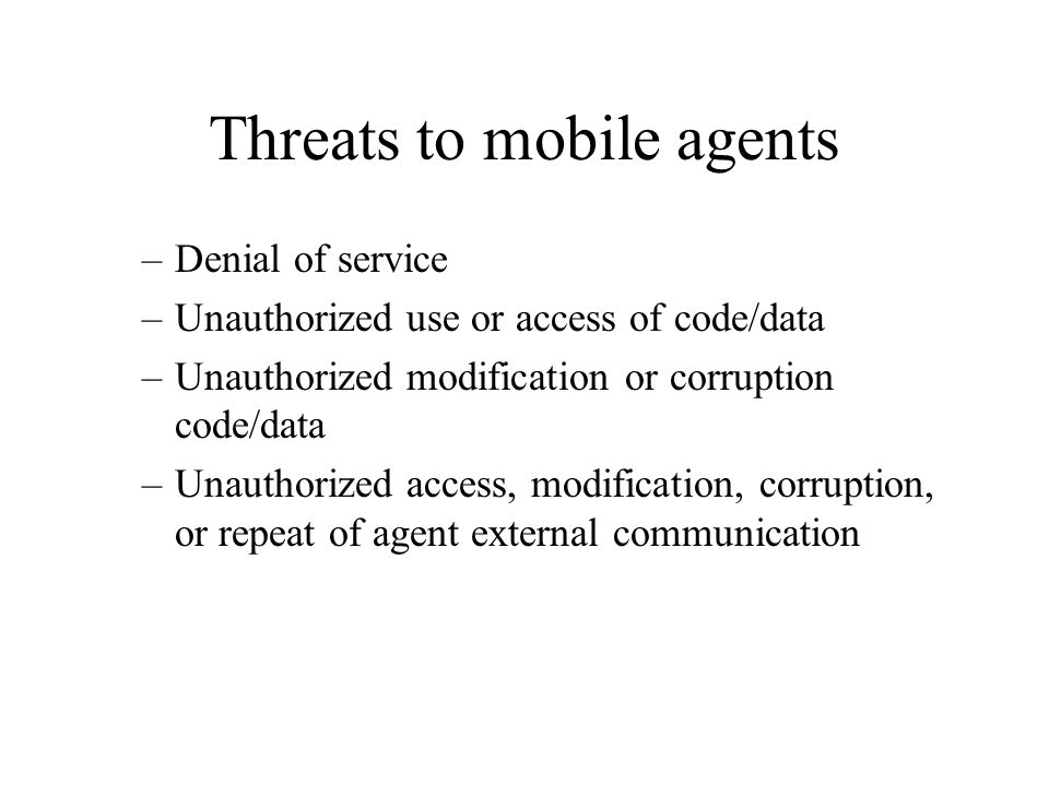 Threats to mobile agents