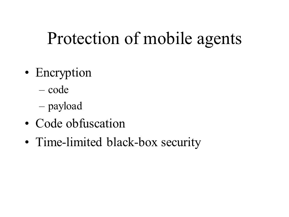 Protection of mobile agents
