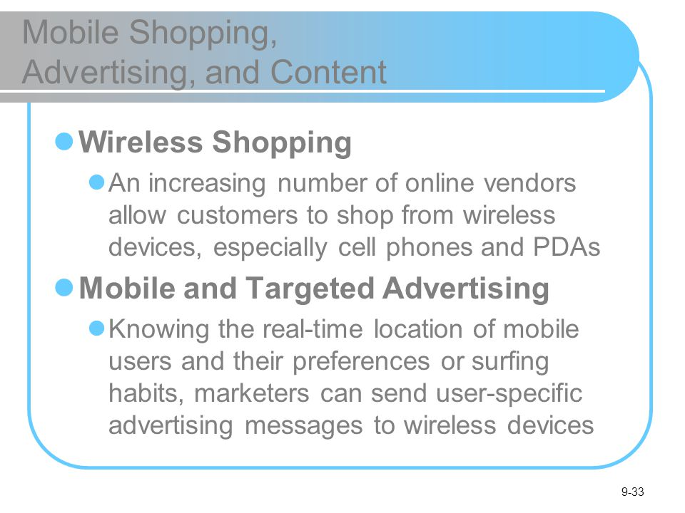 Mobile Shopping, Advertising, and Content