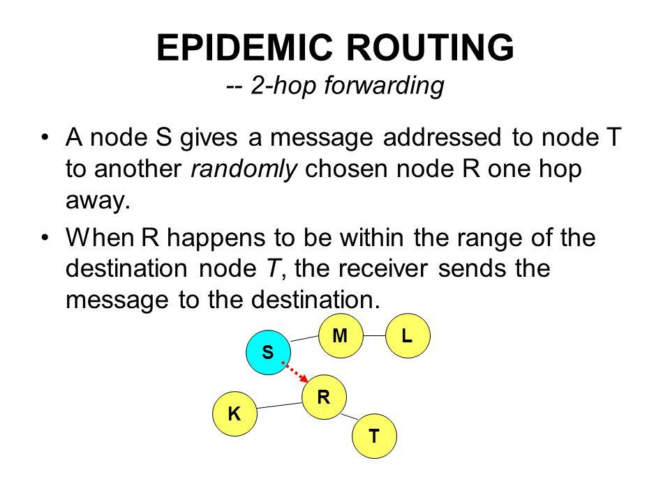 EPIDEMIC ROUTING -- 2-hop forwarding
