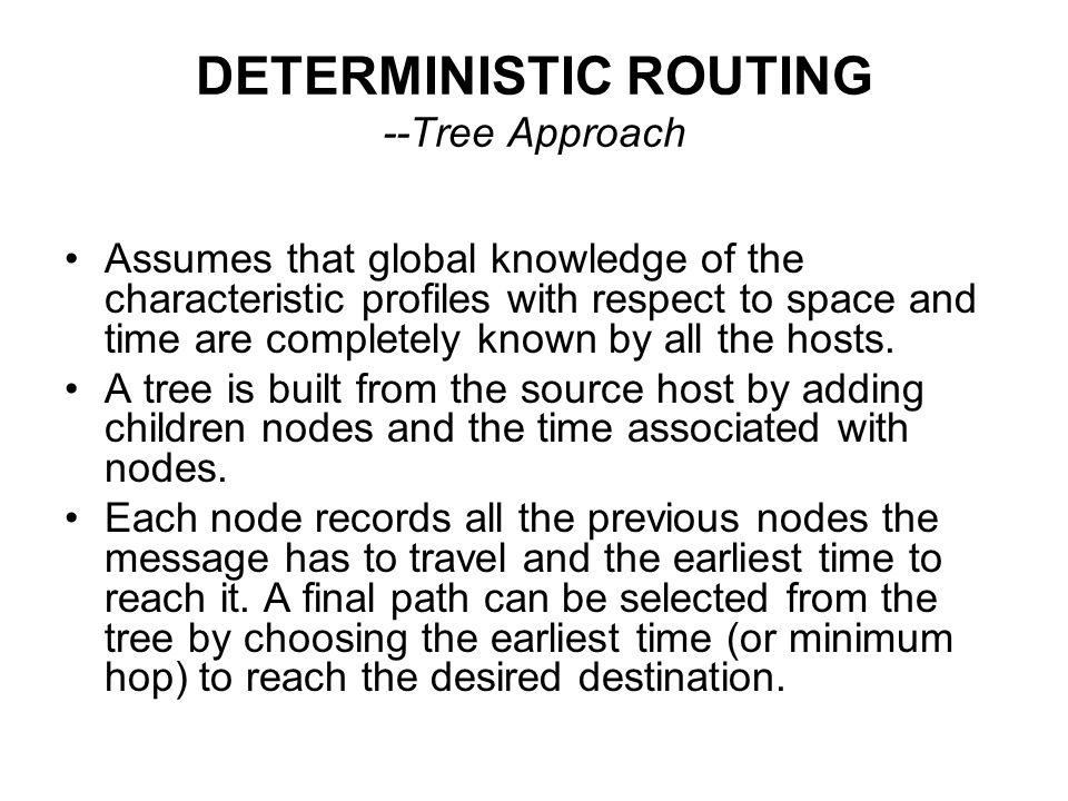 DETERMINISTIC ROUTING --Tree Approach