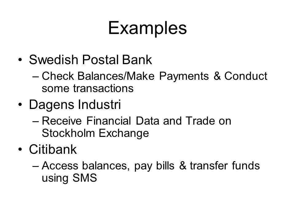 Examples Swedish Postal Bank Dagens Industri Citibank