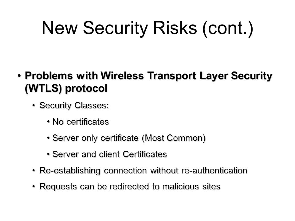 New Security Risks (cont.)