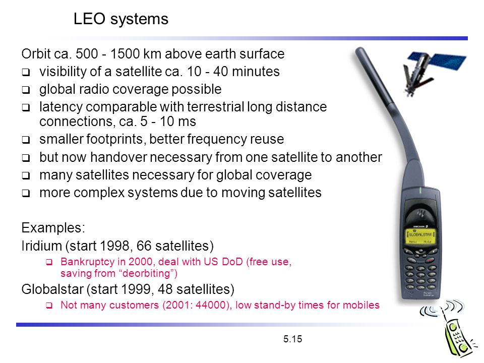 LEO systems Orbit ca. 500 - 1500 km above earth surface