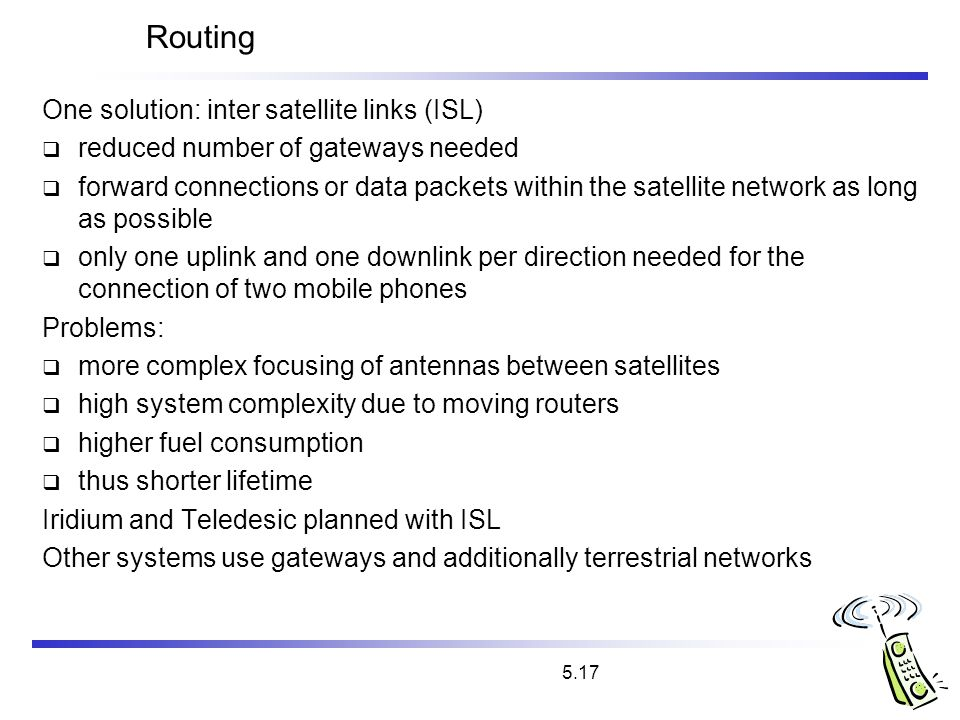 Routing One solution: inter satellite links (ISL)