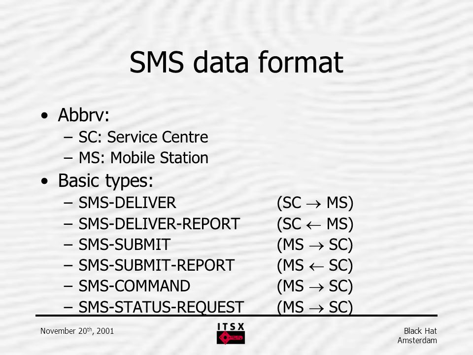 SMS data format Abbrv: Basic types: SC: Service Centre
