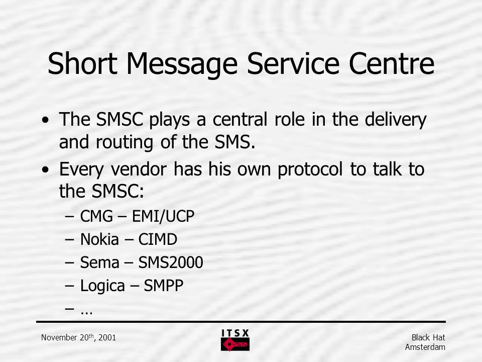 Short Message Service Centre