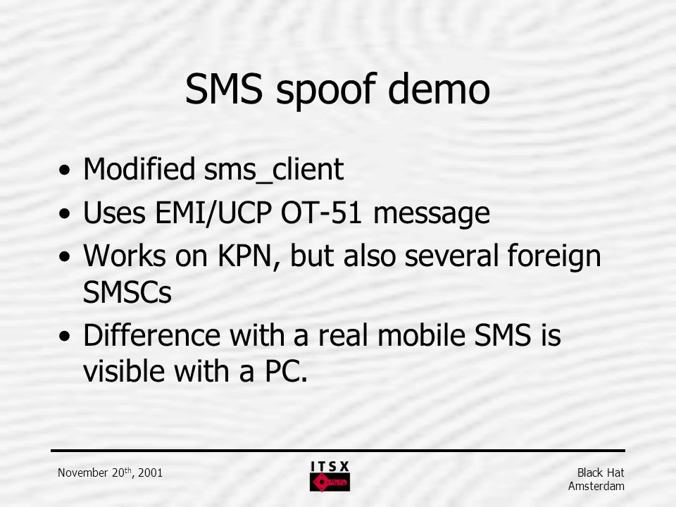 SMS spoof demo Modified sms_client Uses EMI/UCP OT-51 message