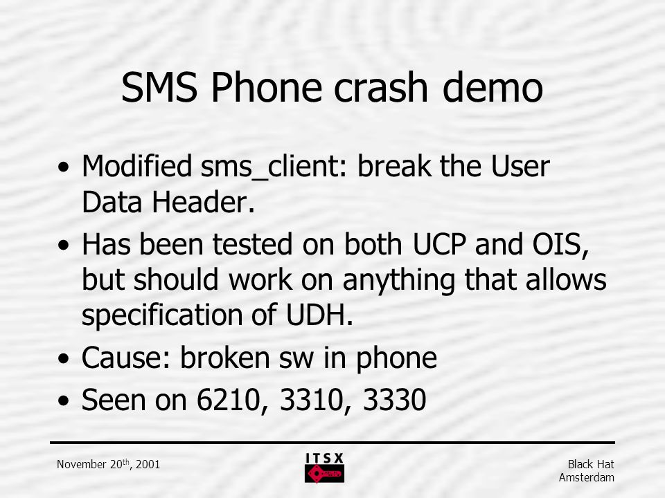 SMS Phone crash demo Modified sms_client: break the User Data Header.