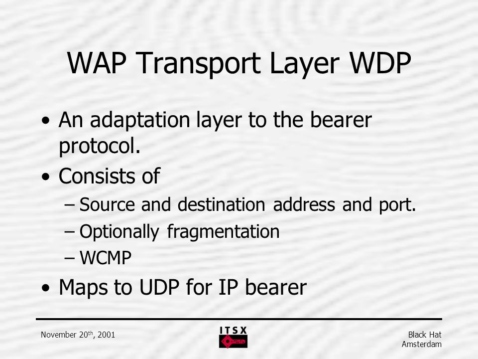 WAP Transport Layer WDP