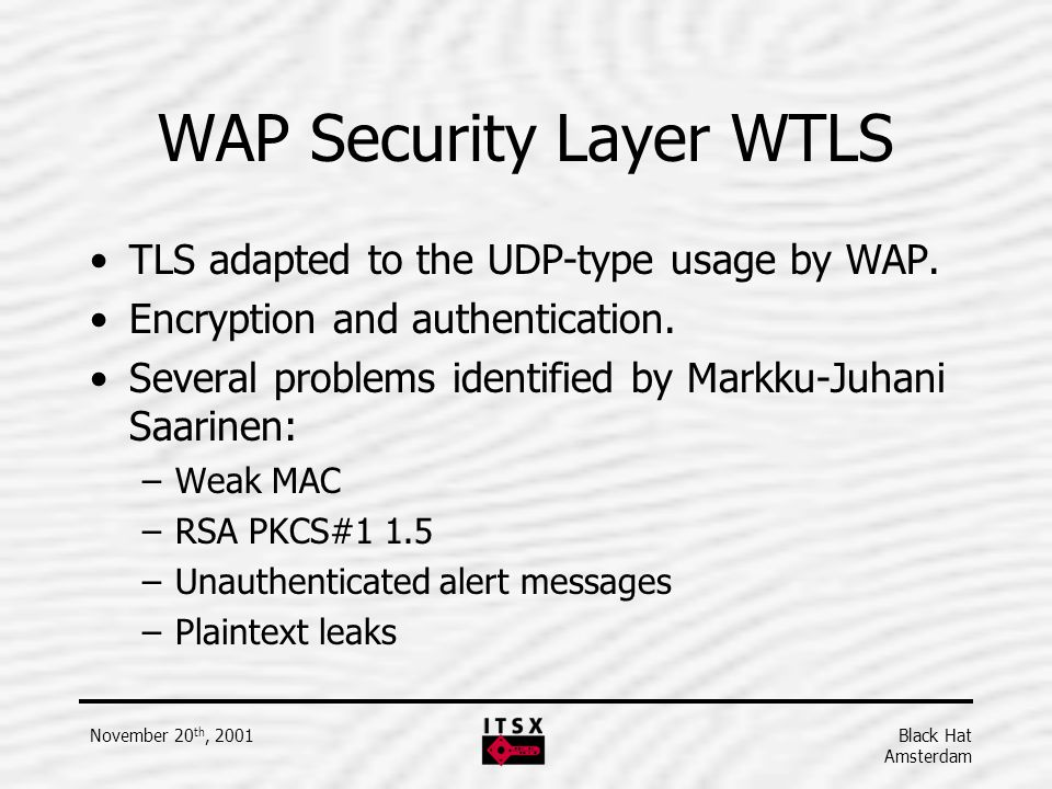 WAP Security Layer WTLS