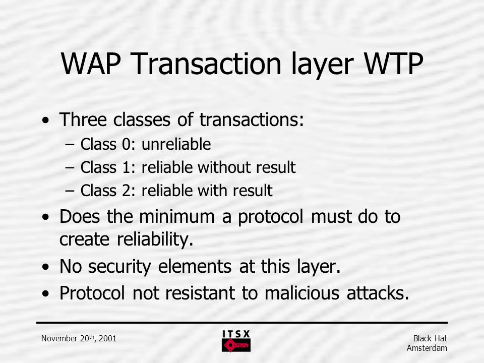 WAP Transaction layer WTP