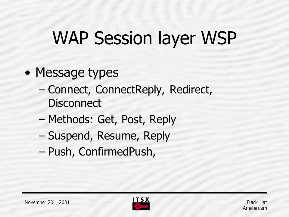 WAP Session layer WSP Message types