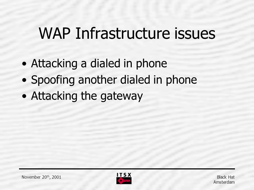 WAP Infrastructure issues