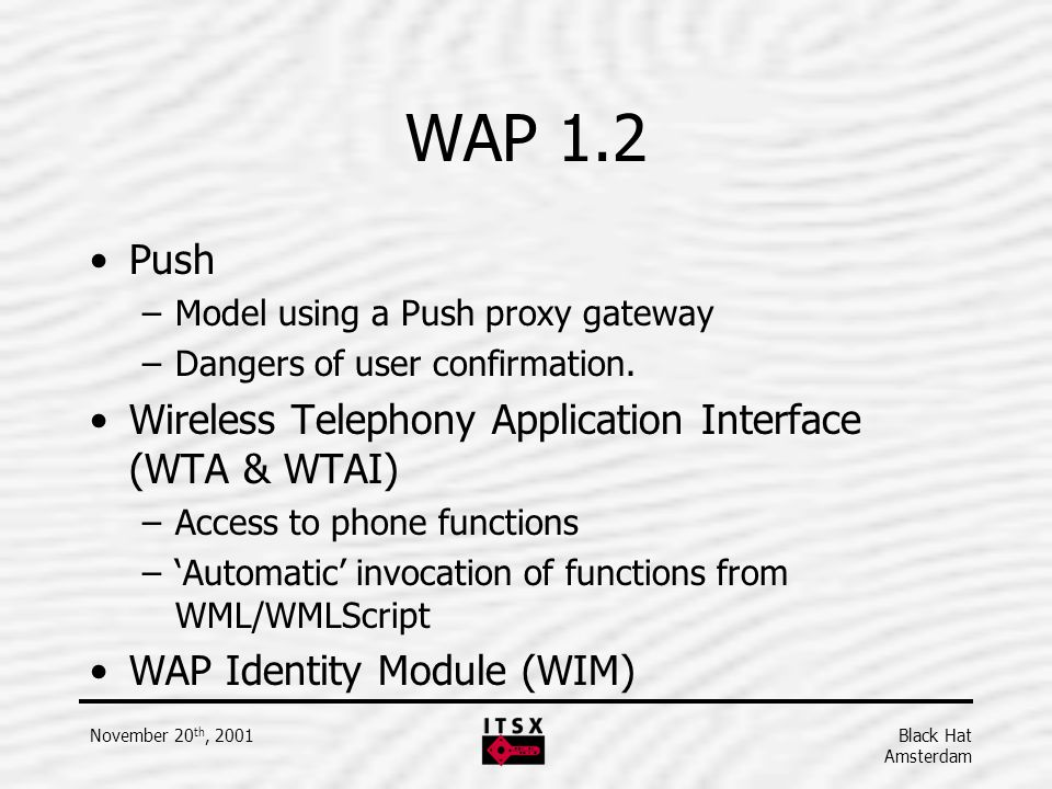 WAP 1.2 Push Wireless Telephony Application Interface (WTA & WTAI)