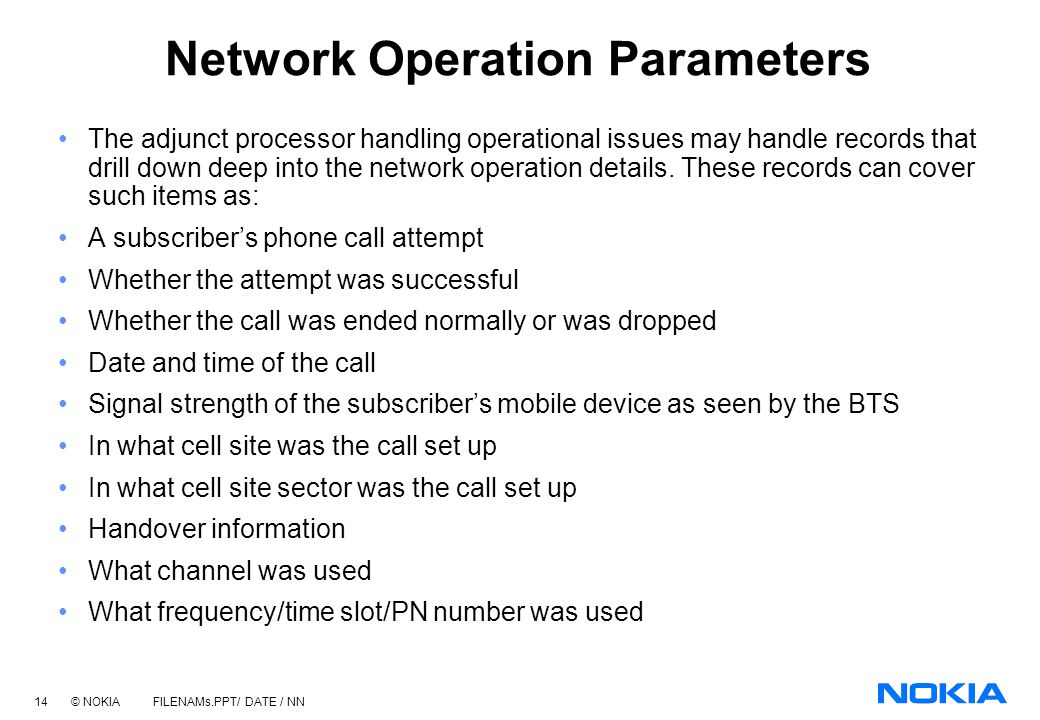 Network Operation Parameters