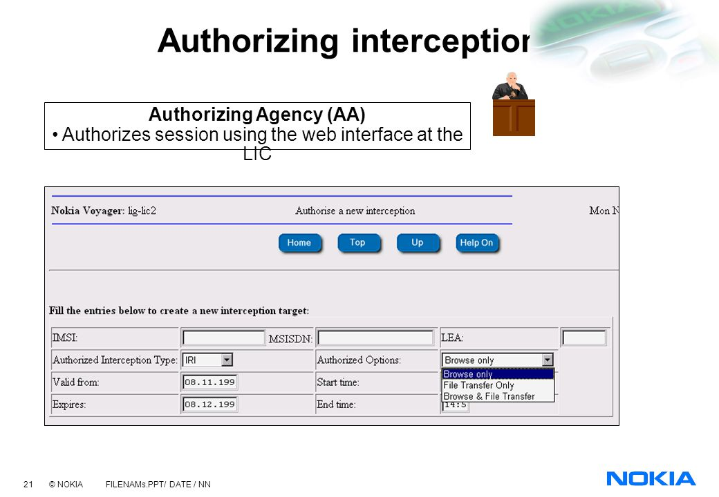 Authorizing interceptions
