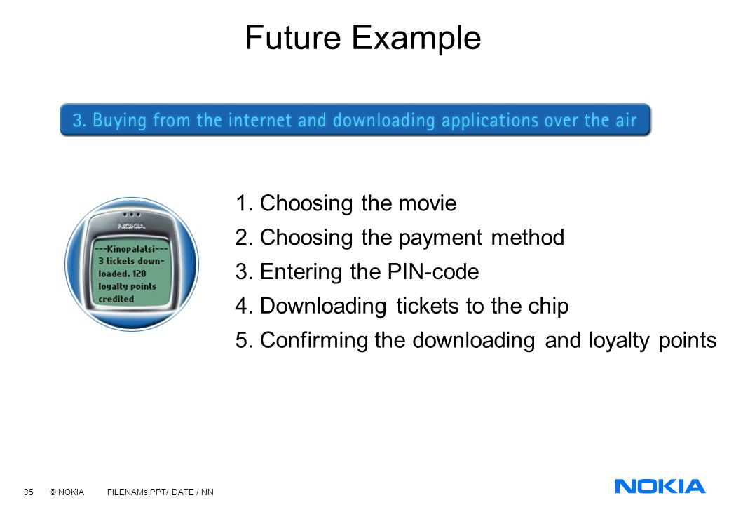 Future Example 1. Choosing the movie 2. Choosing the payment method