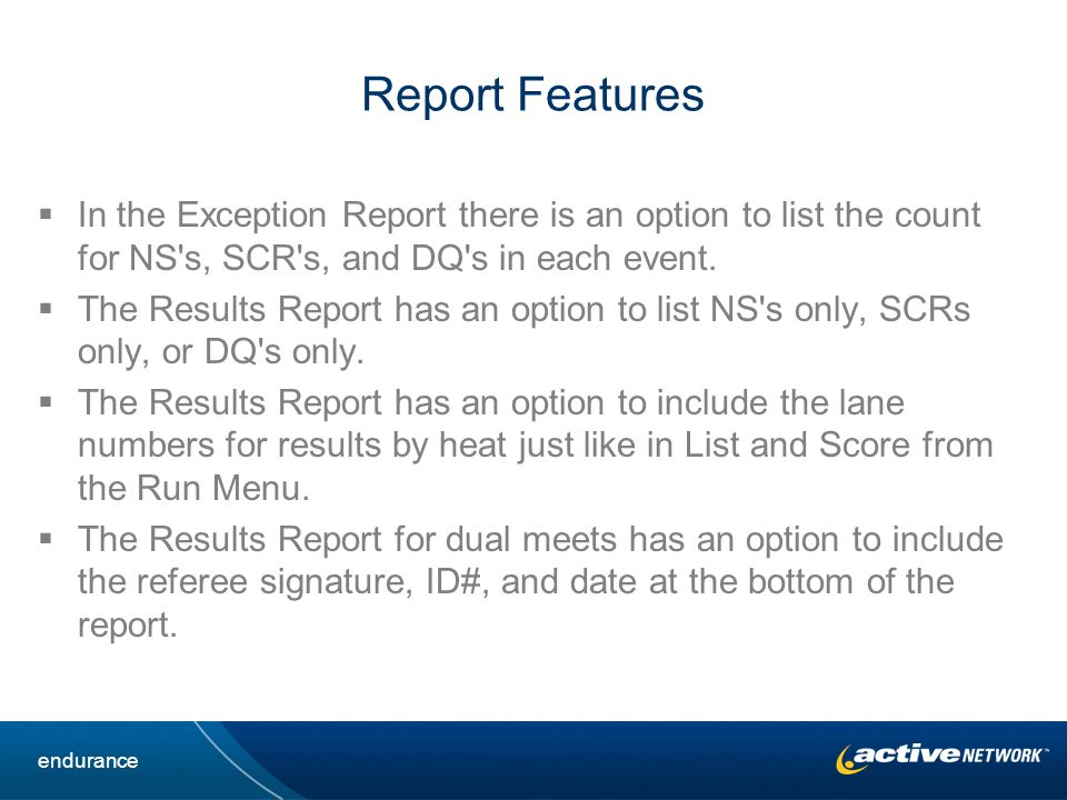 Report Features In the Exception Report there is an option to list the count for NS s, SCR s, and DQ s in each event.
