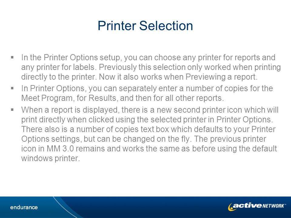 Printer Selection