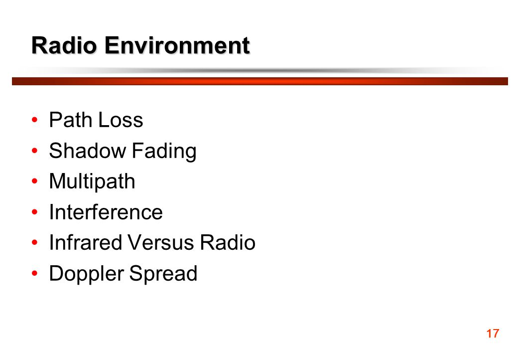 Radio Environment Path Loss Shadow Fading Multipath Interference