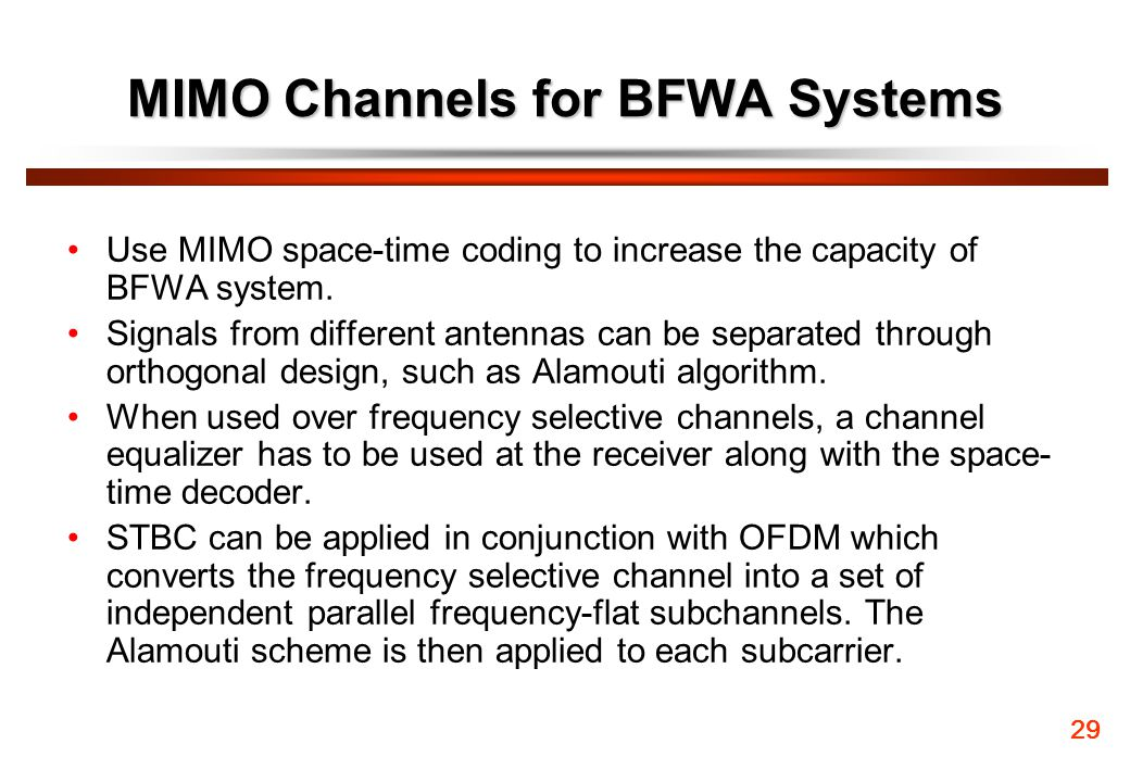 MIMO Channels for BFWA Systems